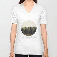 photograph V-neck T-shirts featuring Dark Forest by Tina Crespo