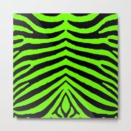 Black and Neon Green Tropical Zebra Animal Stripes Metal Print