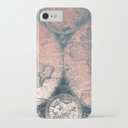 Vintage World Map Rose Gold and Storm Gray Navy iPhone Case
