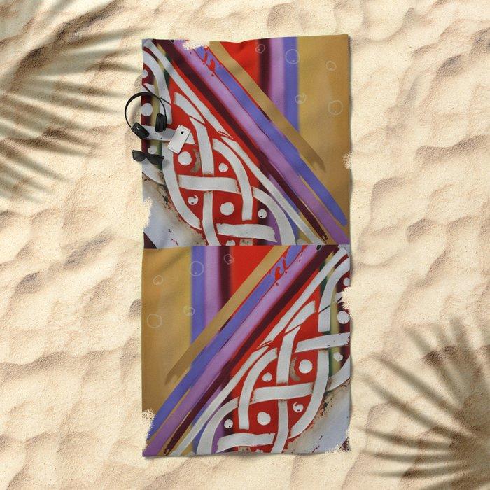 Celtic Knot with Autumn Colors Beach Towel