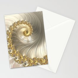 Gold and Pearl Fractal Swirl Stationery Cards