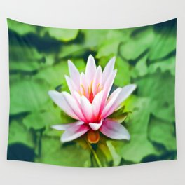 Pink Lotus Waterlily & Green Lily Pads Wall Tapestry