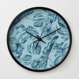 Hawaiian Teal Sea Island Leaves + Flowers Wall Clock