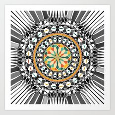 High contrast mandala Art Print