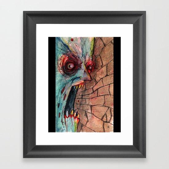 screaming zombie Framed Art Print
