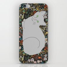 Gray Cat on Floral  iPhone & iPod Skin