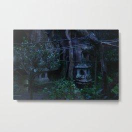 Blue Shrines Melted Metal Print
