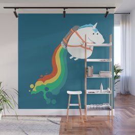 Fat Unicorn on Rainbow Jetpack Wall Mural