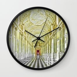 Gallery of Diana, Royal Palace of Venaria Reale, Turin Italy Portrait Painting by Jeanpaul Ferro Wall Clock