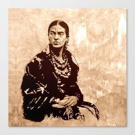 FRIDA - the mistress of ARTs - sepia version Canvas Print