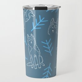 Siberian Husky Pattern (Blue-Gray) Travel Mug