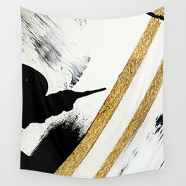 Armor [8]: a minimal abstract piece in black white and gold by Alyssa Hamilton Art Wall Tapestry