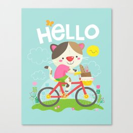 Cat on a bike Canvas Print