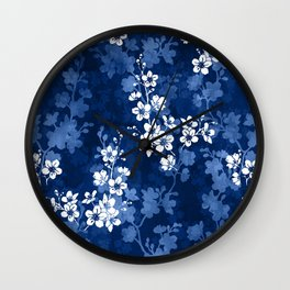 Sakura blossom in deep blue Wall Clock