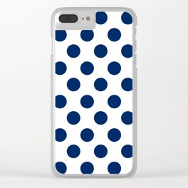 Navy and White Medium Polka Dots Clear iPhone Case