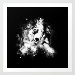 australian shepherd aussie dog puppy splatter watercolor black white Art Print