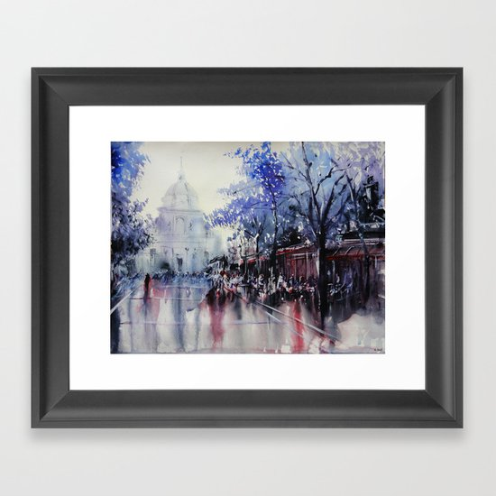 """La Sorbonne"" - Watercolor painting Framed Art Print"