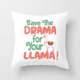 save the drama lama alpaca cute animal fur white Throw Pillow