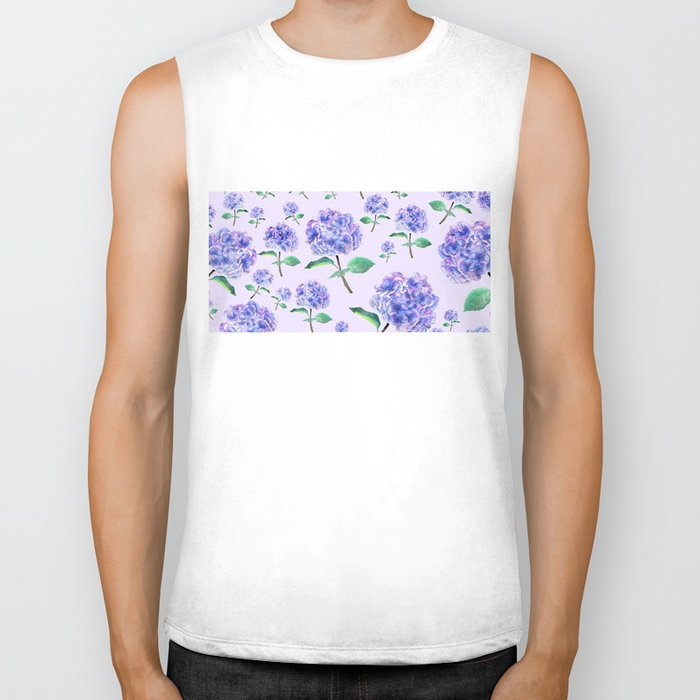 purple blue hydrangea in purple background Biker Tank