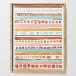 Boho Stripes - Watercolour pattern in rusts, turquoise & mustard. Nursery print Serving Tray
