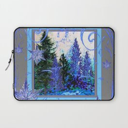 ORNATE BLUE-GREY WINTER SNOWFLAKES FOREST ART Laptop Sleeve