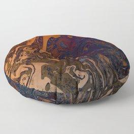Orange Gradient Marble #marble #orange #blue #planet Floor Pillow