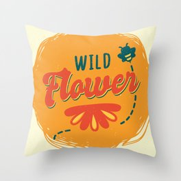 Wildflower with bee Throw Pillow