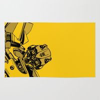 transformers Area & Throw Rugs featuring Transformers: Bumblebee by Skullmuffins