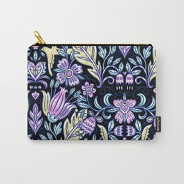 Purple and Black Flower Pattern  Carry-All Pouch
