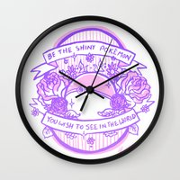 kendrawcandraw Wall Clocks featuring Be the Shiny by kendrawcandraw