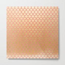 Chic modern coral faux gold quatrefoil pattern Metal Print