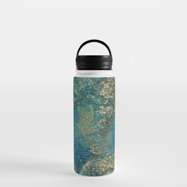 Blue And Gold Modern Abstract Art Painting Water Bottle