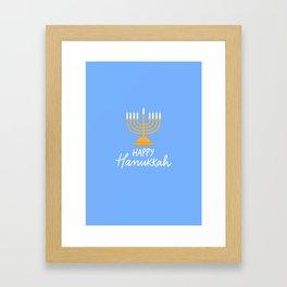 Hanukkah candles blue Framed Art Print