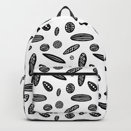 Many Autumn Plant Seeds Pattern in White Backpack