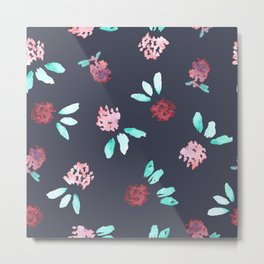 Clover Flowers Pattern on Grey Metal Print