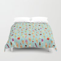 ice cream Duvet Covers featuring Ice cream by Wonderful Day