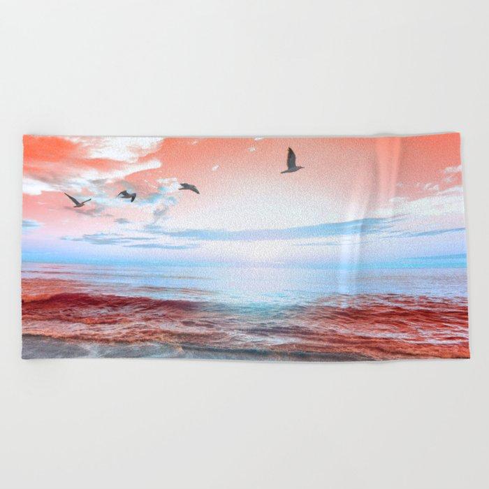 The Orange Sunrise in Sea Side Beach Towel