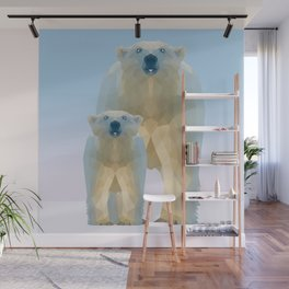 Cute Low poly polar bear with cub Wall Mural