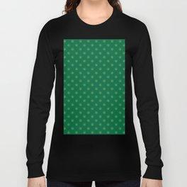 Tan Brown on Cadmium Green Snowflakes Long Sleeve T-shirt