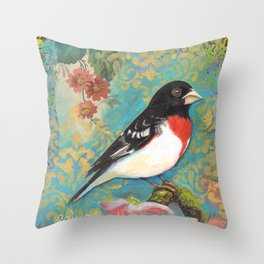 Red Breasted Grosbeak by Robynne Throw Pillow