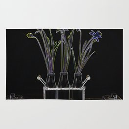 Colorful Daffodils in Milk Bottles Art Photography Rug