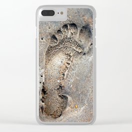Foot print in the sand, start of a journey Clear iPhone Case