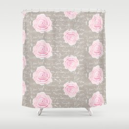 Watercolor roses on Taupe with French script Shower Curtain