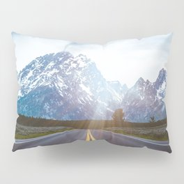 Mountain Road - Grand Tetons Nature Landscape Photography Pillow Sham