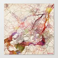 montreal Canvas Prints featuring Montreal by MapMapMaps.Watercolors