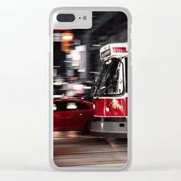 Red buses street Clear iPhone Case