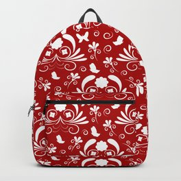 Abstract floral red, white Backpack