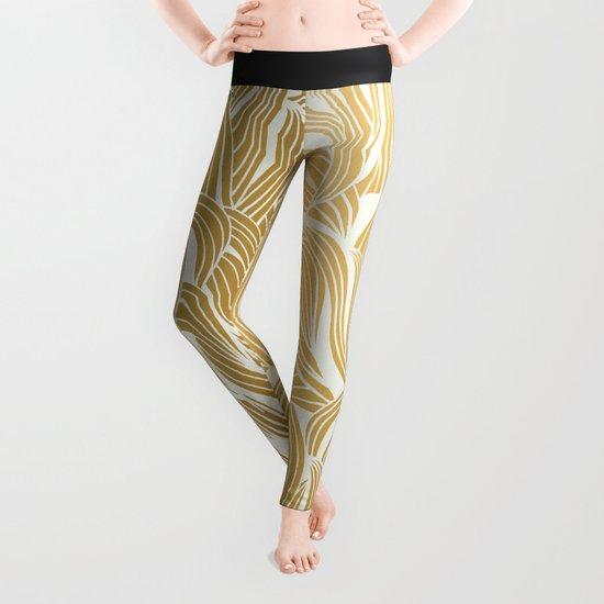 Gold & White Pattern Leggings