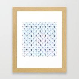 Pastel blue violet lilac hand painted geometrical cactus Framed Art Print