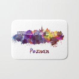 Poznan skyline in watercolor Bath Mat